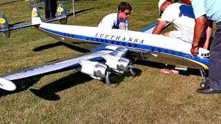 LOCKHEED L-1049G SUPER CONSTELLATION GIANT RC SCALE MODEL AIRLINER LOW PASS AND SHOW FLIGHT