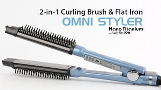 2-in-1 Curling Brush & Flat Iron