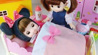 Baby doll house baby sitter and bed toys food play  아기인형 하우스 아기돌보기 음식 침대 장난감놀이 - 토이몽