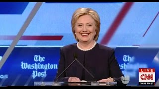 Clinton laughs awkwardly when Bernie Sanders gets far more cheers for his closing debate statement