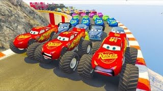 Cars 3 Fabulous Monster Ligtning McQueen Tow Mater Robocar Poli Race on Mountain