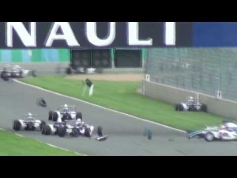 English- Big accident at the start of the 2nd Eurocup Formula Renault 1.6 (former Formula Academy) race of Magny-Cours, thankfully Lahaye &amp; Lanch&Atilde;&uml;re walked ...