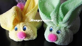 CONEJITOS DE TOALLA FACIAL- face cloth animals DIY / Ronycreativa