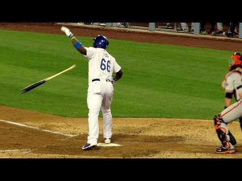 Yasiel Puig Home Run Bat Flip & Confrontation with Pitcher 5-9-14