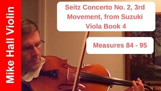 Seitz - Concerto No. 2, 3rd Movement from Suzuki Viola Book 4, Measures 84 - 95