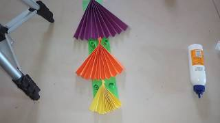 Easy paper crafts|easy wall hanging|paper fan wall hanging | very easy  paper crafts|kids crafts