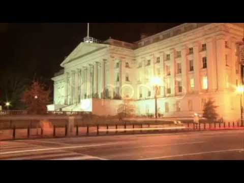 Department Of The Treasury At Night Hd Timelapse. Stock Footage