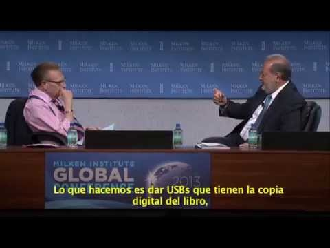 Carlos Slim en entrevista con Larry King, en la Conferencia Global 2013 del Milken Institute.