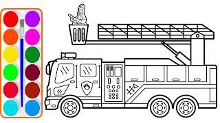 Xe cứu hỏa cho bé vẽ và tô màu | Dạy bé vẽ | Dạy bé tô màu | Fire truck drawing and coloring for kid