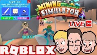 MINING SIMULATOR UPDATE: QUESTS + CODES + LIGHT PACK & MORE! (Roblox Live Stream)