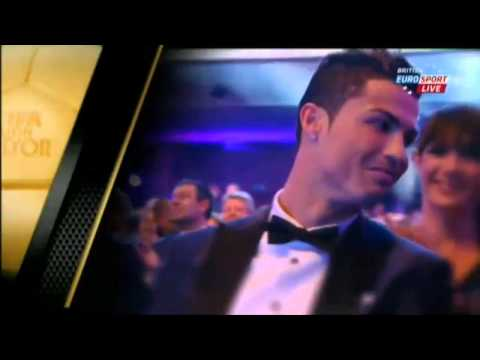 Cristiano Ronaldo reaction after winning FIFA Ballon d'Or 2013 (Kiss Irina Shayk)