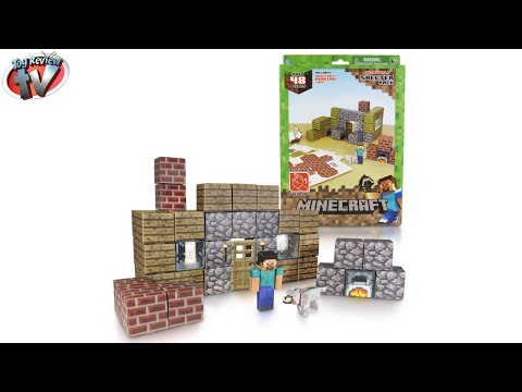 Minecraft: Overworld Shelter Pack Papercraft Toy Review. Jazwares