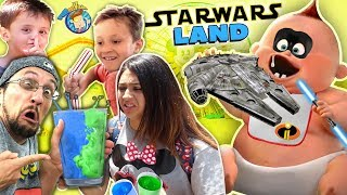 BLUE vs. GREEN MILK in STAR WARS LAND!! FV Family Rides INCREDIBLES JACK JACK Coaster