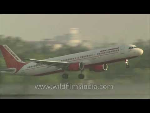 Indigo and Air India plane taking off from Delhi airport