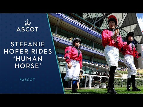 Jockey Stefanie Hofer rides 'human horse' at Ascot Racecourse
