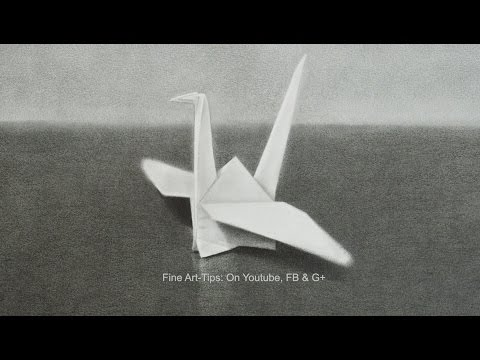 How to Draw an Origami Crane - Photographic effect - 3Dish