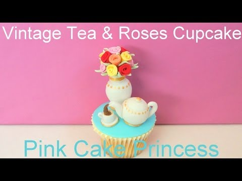 Mother's Day Miniature Tea & Roses Cupcake - How to by Pink Cake Princess
