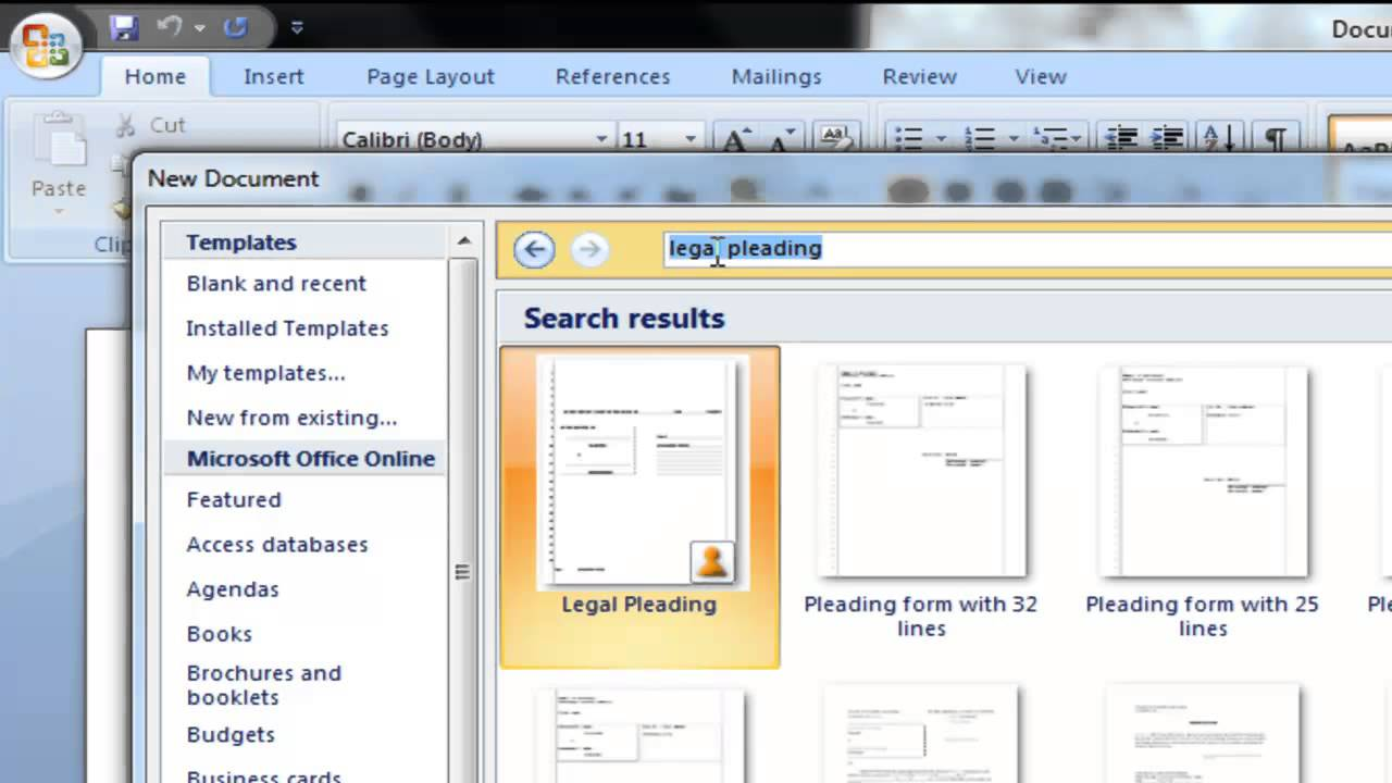 how to obtain pleading paper with microsoft word