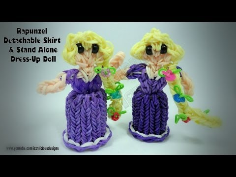 Rainbow Loom Princess Rapunzel Charm/Action Figure - Detachable Skirt & Standing Dress Up Doll