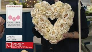 "14"" Vintage Rose Heart-Shaped Wreath by Valerie on QVC"