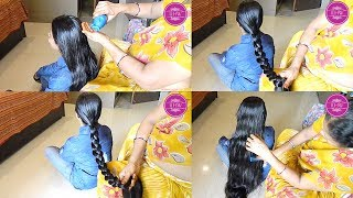 ILHW Rapunzel Sujata Heavy Oiling & Braiding by her Aunt to Below Knee Length Silky Mane