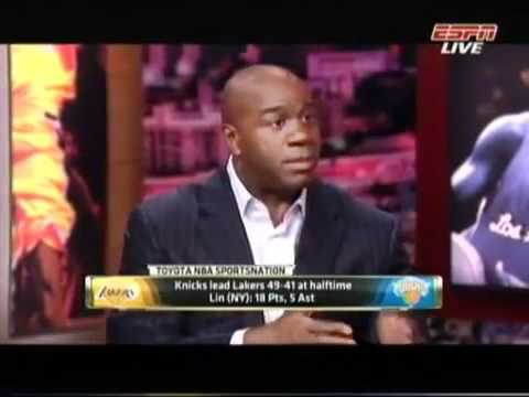 Jeremy Lin vs. Lakers 38pts Magic Johnson's Comment 魔術手莊遜對林書豪的評價