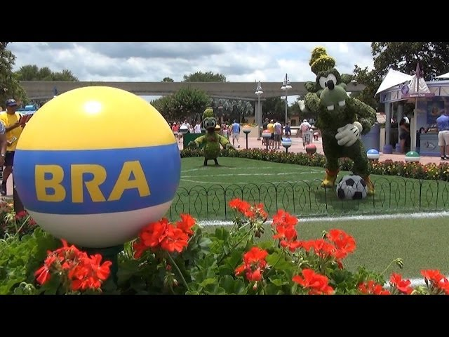 FIFA World Cup Viewing at Odyssey at Epcot; Soccer Goofy & Donald Topiary; Merchandise & Activities