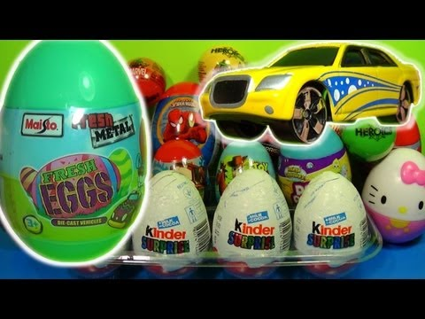 FRESH EGG CAR! 1 of 20 Kinder Surprise Surprise Eggs (Spider Man Toy Story Cars)