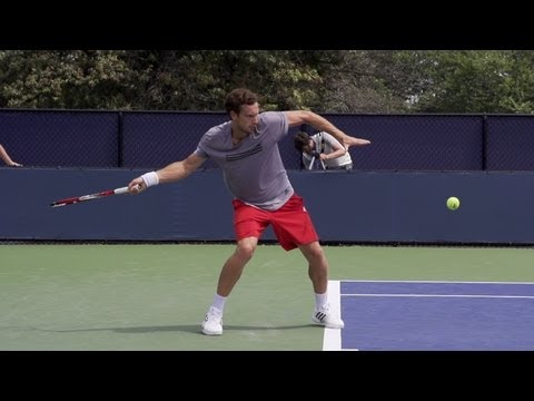 Ernests Gulbis Forehand and Serve In Super Slow Motion - 2013 Cincinnati Open