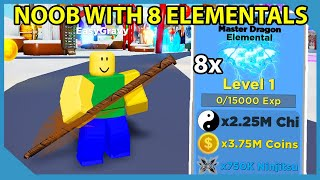 Noob With Full Team of Elemental Pets in Roblox Ninja Legends