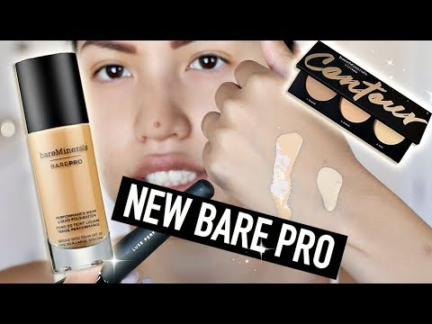 BRAND NEW   BARE MINERALS BARE PRO PERFORMANCE LIQUID FOUNDATION & CONTOUR PALETTE REVIEW