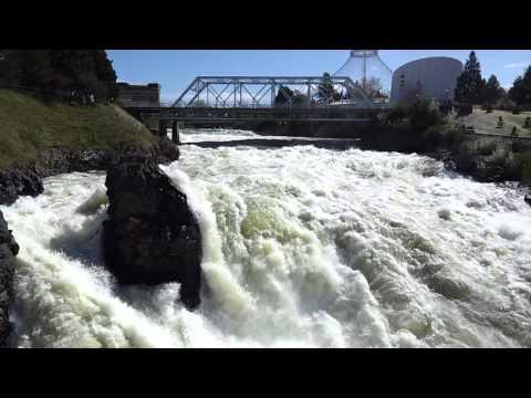 0 Spokane Falls flowing through Riverfront Park in downtown Spokane Washington ...