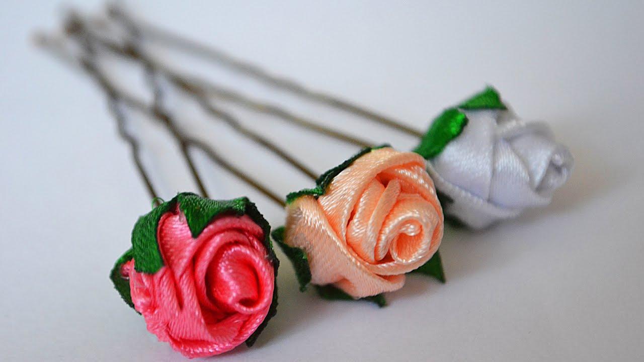 Шпильки для волос с розами. МК. ? Kanzashi DIY