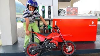 Funny Video For Children Baby Ride on Dirt Cross Bike Power Wheel Pocket Bike Fuel Station