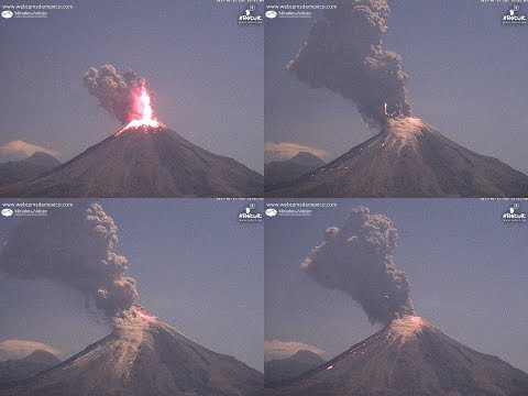 Espectacular Volcán de Colima 12 de enero 2017 explosión nocturna con rayos