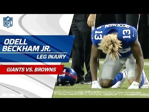 Odell Beckham Jr Suffers Leg Injury Giants Vs Browns Preseason