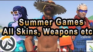 Overwatch Summer Games 2017 All Skins, Weapons, Voice Lines, Emotes, Sprays