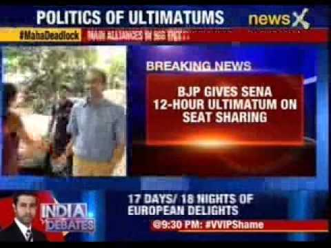 BJP gives Sena 12- Hour ultimatum on seat sharing