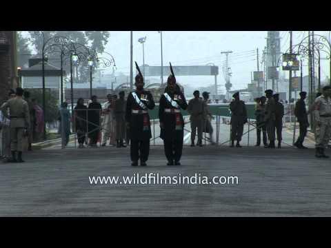 Evening flag lowering ceremony at the India–Pakistan international border - Wagah