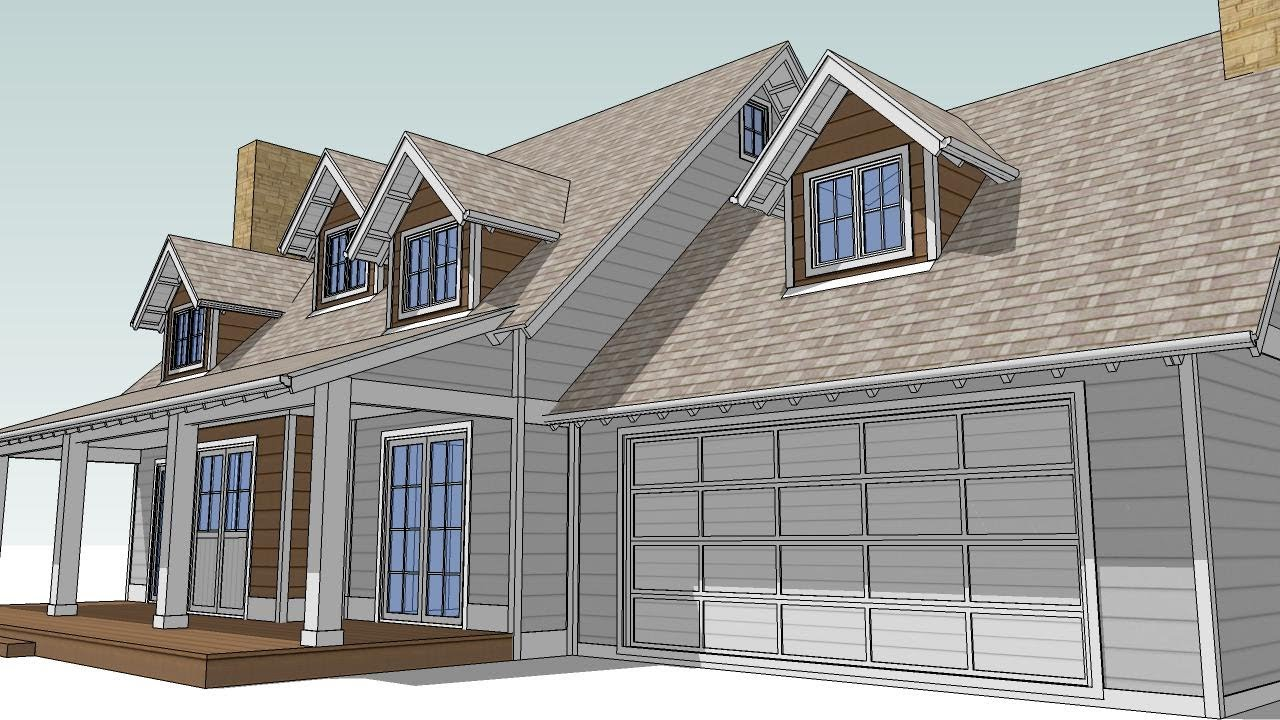 Design an attic roof home with dormers using sketchup for Window roof design
