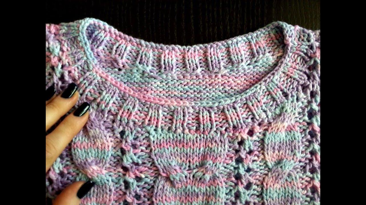 Вяжем горловину свитера видео 56