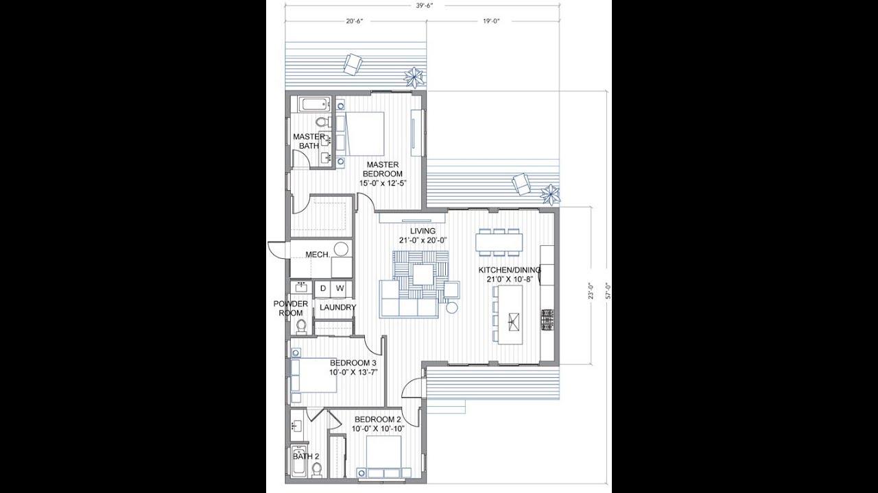 Plano de casa de un piso y tres habitaciones youtube for Plano piso 3 habitaciones