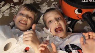 Henry Hoover Kids Make FAKE SNOW MESS Indoors! ~ Vacuum Cleaner HENRY Helps to Vacuum Up ~ Fun Video