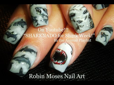 Nail Art - SHARKNADO NAILS for Shark Week