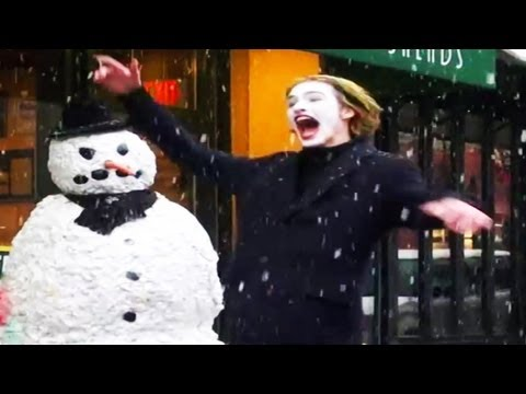 Funny Pranking Weird people Moving Snowman Prank