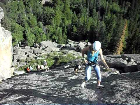 Deb teaches rappelling at Champ Camp in Colorado