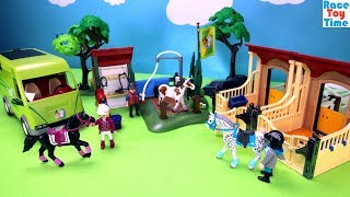 Playmobil Horse Stable Barn and Washing Station Building Sets - Fun Toys Video For Kids