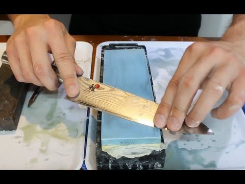 How To Sharpen A Knife On A Wet Stone - How To Get An Extremely Sharp Knife video