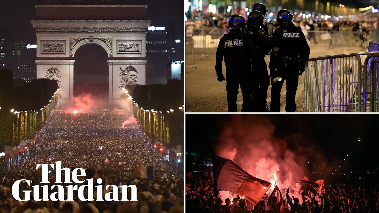 Riot police fire teargas at unruly France fans celebrating World Cup final place