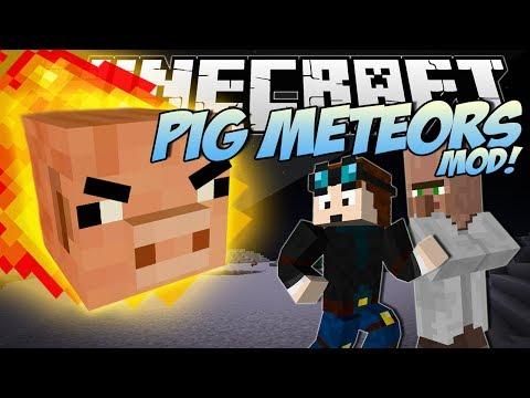 Minecraft | PIG METEORS MOD! (Giant Pigs Destroy the City!) | Mod Showcase